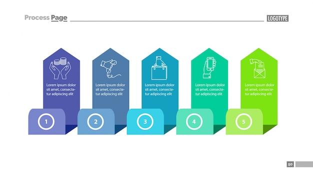 Vijf stappen proces diagram slide slide template