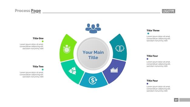 Vijf stappen strategie diagramsjabloon. bedrijfsgegevens. grafiek, grafiek