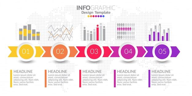 Vijf stappen tijdlijn infographic ontwerp vector en pictogrammen