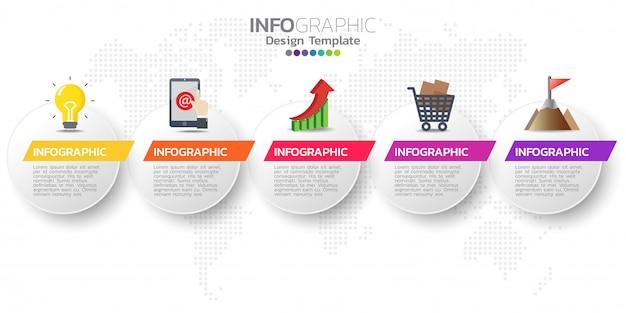 Vijf stappen tijdlijn infographic ontwerp vector
