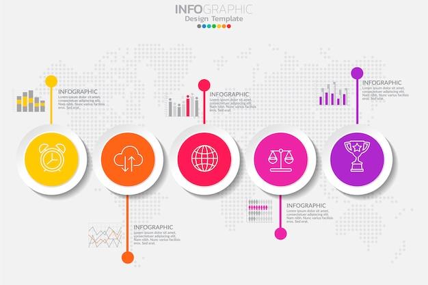 Vijf stappen tijdlijn infographic sjabloonontwerp vector