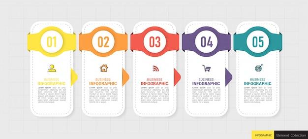 Vijf stappen tijdlijn infographics ontwerp