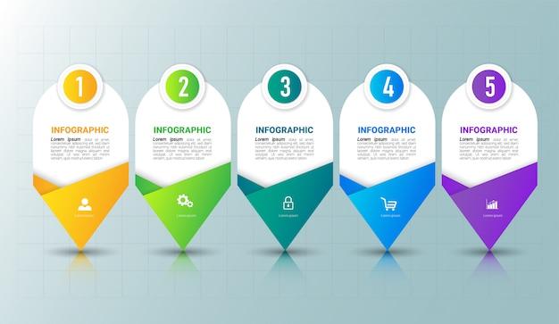 Vijf stappen tijdlijn infographics ontwerpsjabloon.