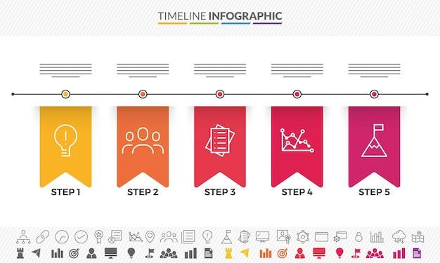 Vijf stappen, timeline infographics layout met pictogrammen, in zwart-wit en kleurrijke versies.