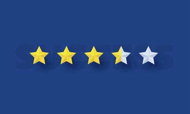 Vijf sterren laden met succestekst op de achtergrond succes business concept inspiratie business