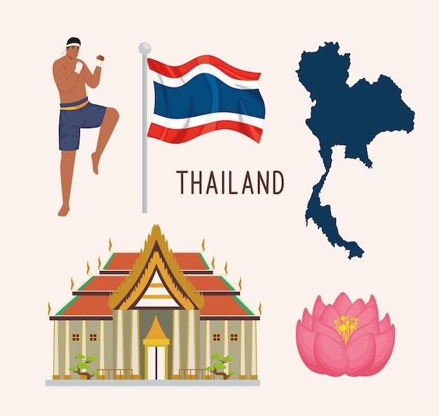 Vijf thailand-iconen