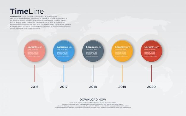 Vijf tijdlijngrafiek infodiagrammen met kleurrijke cirkels voor presentatie.