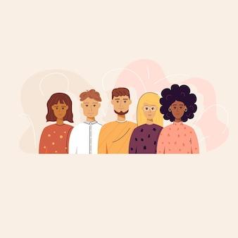 Vijf trendy mensen concept. vectorillustratie van portretten achtergrond.