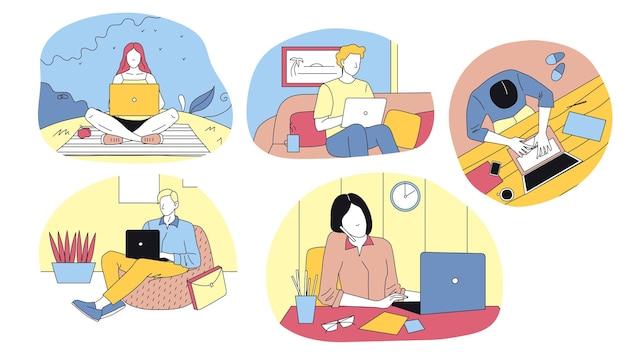 Vijf volwassen personages die vanuit verschillende plaatsen aan hun laptops werken. vlakke stijl vectorillustratie met overzicht. lineaire mannelijke en vrouwelijke mensen. freelance, werken vanuit huis en op kantoor concept art.