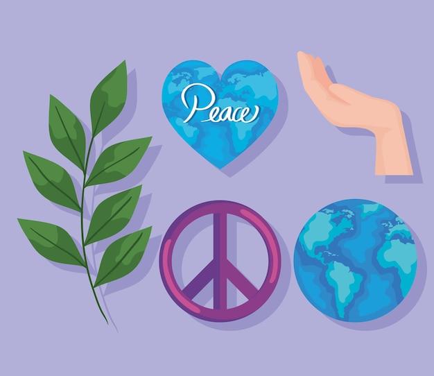 Vijf vredespictogrammen