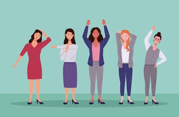 Vijf vrouwen in actieve pauze