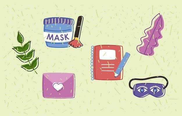 Vijf zelfzorgsetpictogrammen