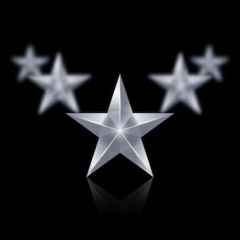 Vijf zilveren sterren in de vorm van een wig op zwart