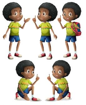 Vijf zwarte jongens