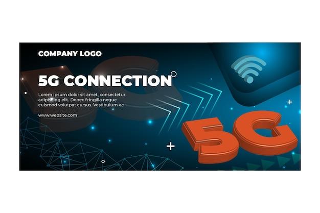 Vijfde generatie netwerk horizontale banner sjabloon