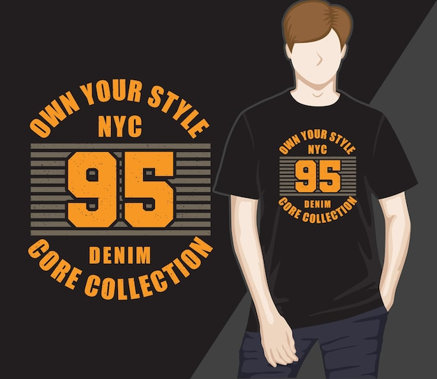 Vijfennegentig typografie t-shirtontwerp
