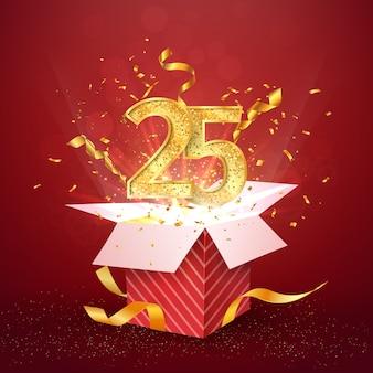 Vijfentwintig jaar jubileum en open geschenkdoos met explosies confetti geïsoleerd ontwerpelement