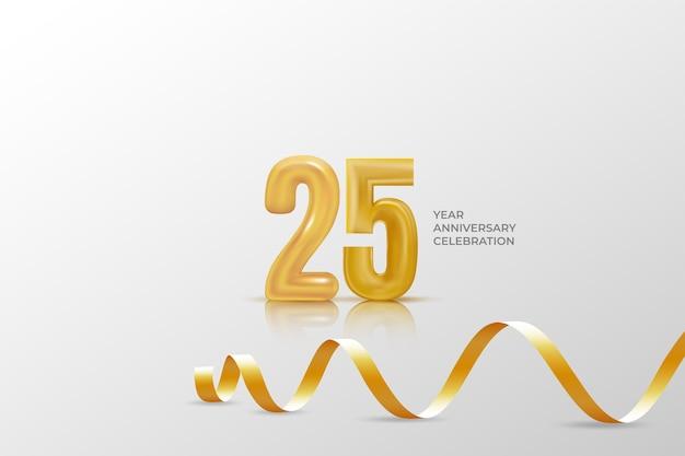 Vijfentwintig jaar verjaardag viering sjabloon met gouden nummer