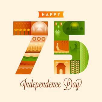 Vijfenzeventig (75) jaar onafhankelijkheidsdag met indiase cultuur en erfgoed op achtergrond.