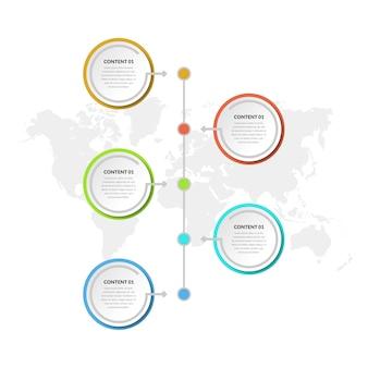 Vijfpunts abstracte infographic elementen bedrijfsstrategie