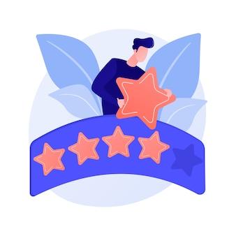 Vijfsterrenbeoordeling. evalueren, beoordelen, schatten. uitstekende beoordeling, klanttevredenheid over service, hoogste score. client feedback concept illustratie