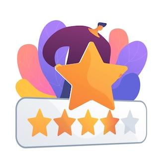 Vijfsterrenbeoordeling. evalueren, beoordelen, schatten. uitstekende beoordeling, klanttevredenheid over service, hoogste score. feedback van klanten.