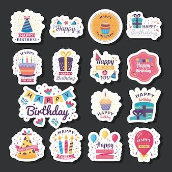 Vijftien badges gelukkige verjaardag met het ontwerp van de decoratieillustratie