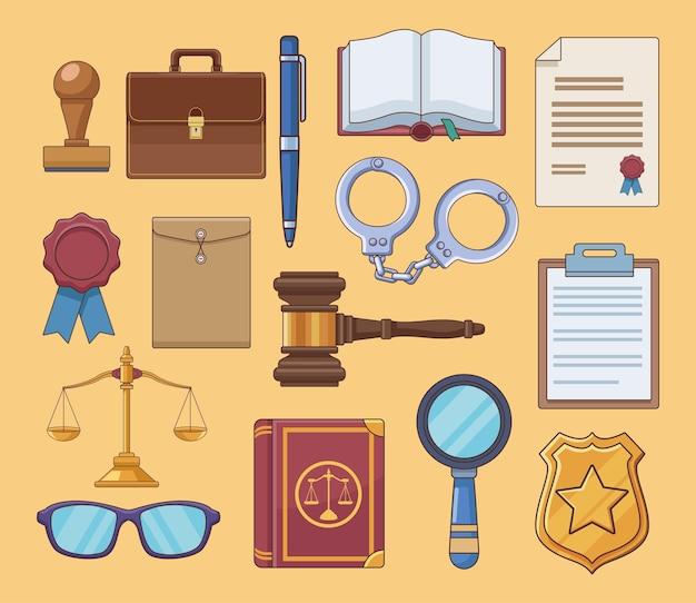 Vijftien pictogrammen voor justitiewetten