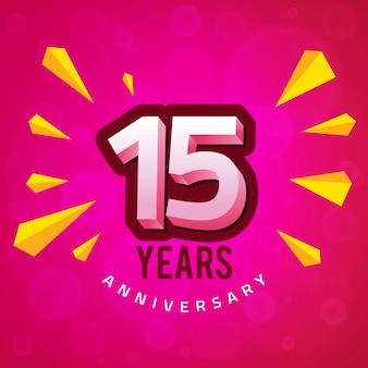Vijftiende verjaardag wenskaart