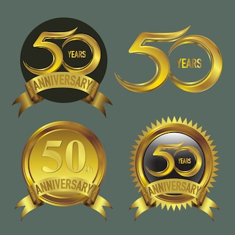 Vijftig jaar verjaardag logo gouden collectie