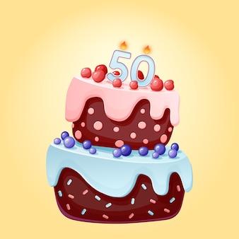 Vijftig jaar verjaardagstaart met kaarsen nummer 50. leuke cartoon feestelijke vector afbeelding. chocoladekoekje met bessen, kersen en bosbessen. gelukkige verjaardagsillustratie voor feestjes