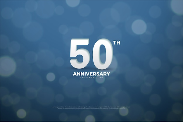Vijftig jubileum achtergrond met aantal water splash effect