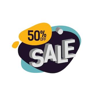 Vijftig procent korting te koop letters op blot