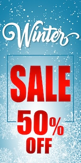 Vijftig procent winter sale-belettering in frame