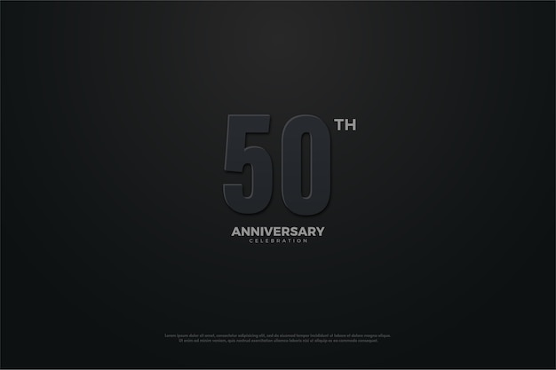 Vijftigste verjaardag achtergrond met donker thema