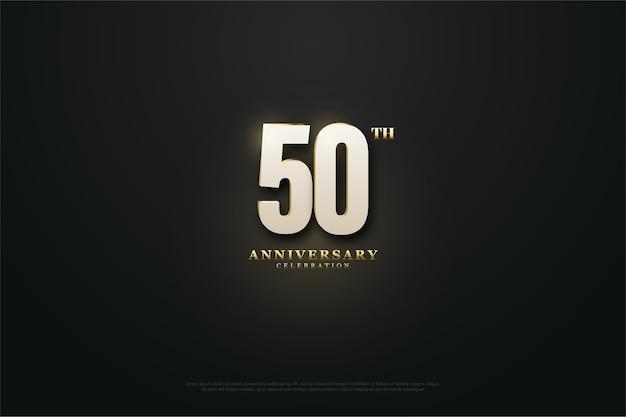 Vijftigste verjaardag achtergrond met nummers die uit het licht komen