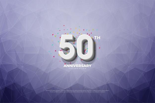Vijftigste verjaardag met cijfers en blauw kristal op de achtergrond