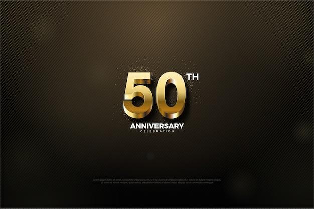 Vijftigste verjaardag met gouden cijfers en zwarte achtergrond
