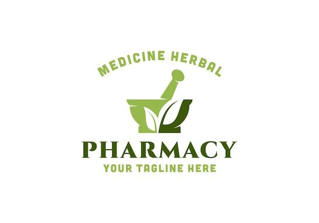 Vijzel, stamper, blad. medische apotheek geneeskunde logo ontwerpsjabloon inspiratie