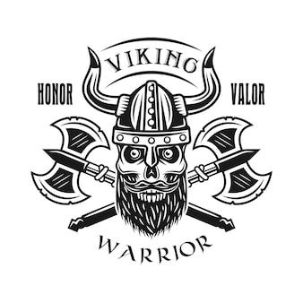 Viking bebaarde schedel en assen vector embleem, label, badge, logo of t-shirt print in zwart-wit stijl geïsoleerd op een witte achtergrond