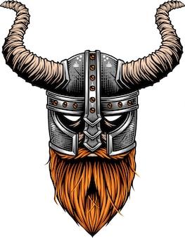 Viking die helm met hoornen draagt