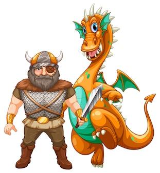 Viking en draak