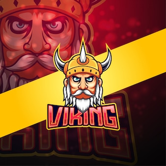 Viking esport mascotte logo ontwerp
