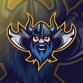 Viking hoofd mascotte esport-logo