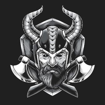 Viking hoofd met bijl geïsoleerd op zwart