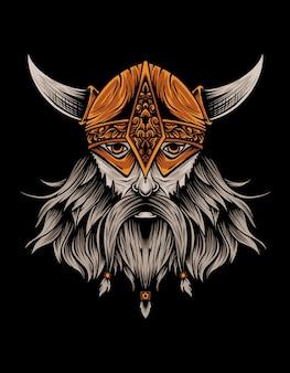 Viking hoofd op zwart Premium Vector