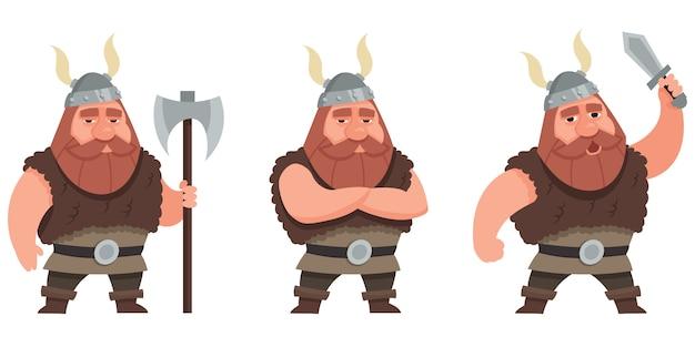 Viking in verschillende poses illustratie
