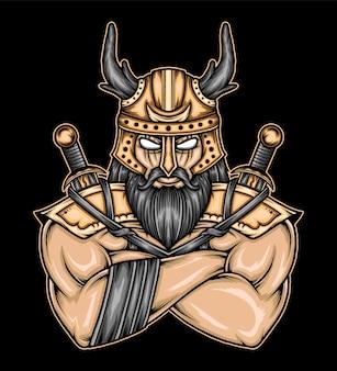 Viking krijger illustratie. premium vector