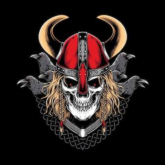 Viking-krijger met raaf