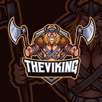 Viking mascotte esport gaming logo ontwerp